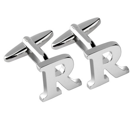 Men's Initial R Alphabet Letter Silver Copper Cufflinks Fathers Day Wedding Birthday Party Cuff - Letter Links