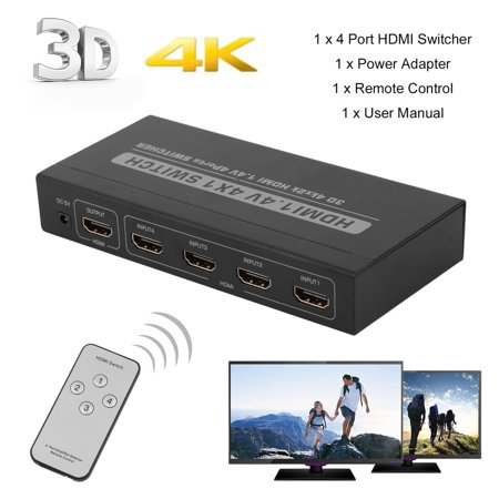 2017 New 4 Port 4x1 HDMI Switch Box 4K Full 3D 1080P Audio Extractor  Sp-litter With IR Remote Control Box Selector