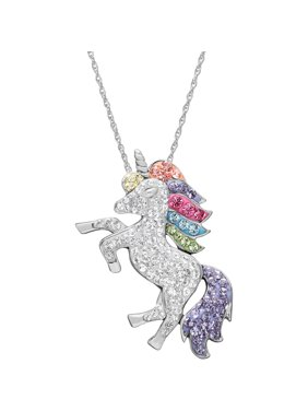 "Brilliance Fine Jewelry Sterling Silver Crystal Unicorn Pendant, 18"" Necklace"