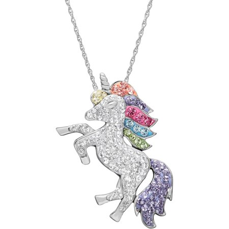 Sterling Silver Guilloche - Swarovski Element Sterling Silver Unicorn Pendant, 18