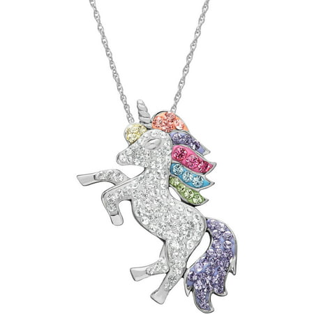 "Swarovski Element Sterling Silver Unicorn Pendant, 18"" Necklace"