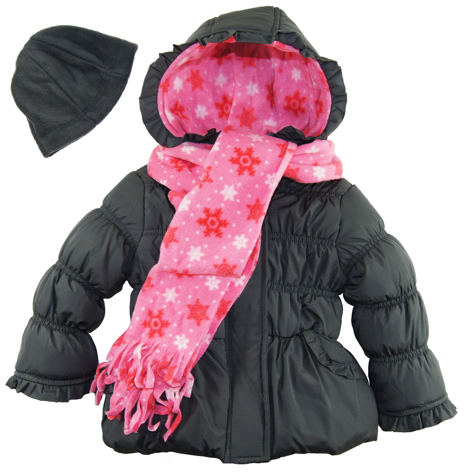 Pink Platinum Girls Fleece Lined Winter Puffer Coat with Hat and Scarf Gift