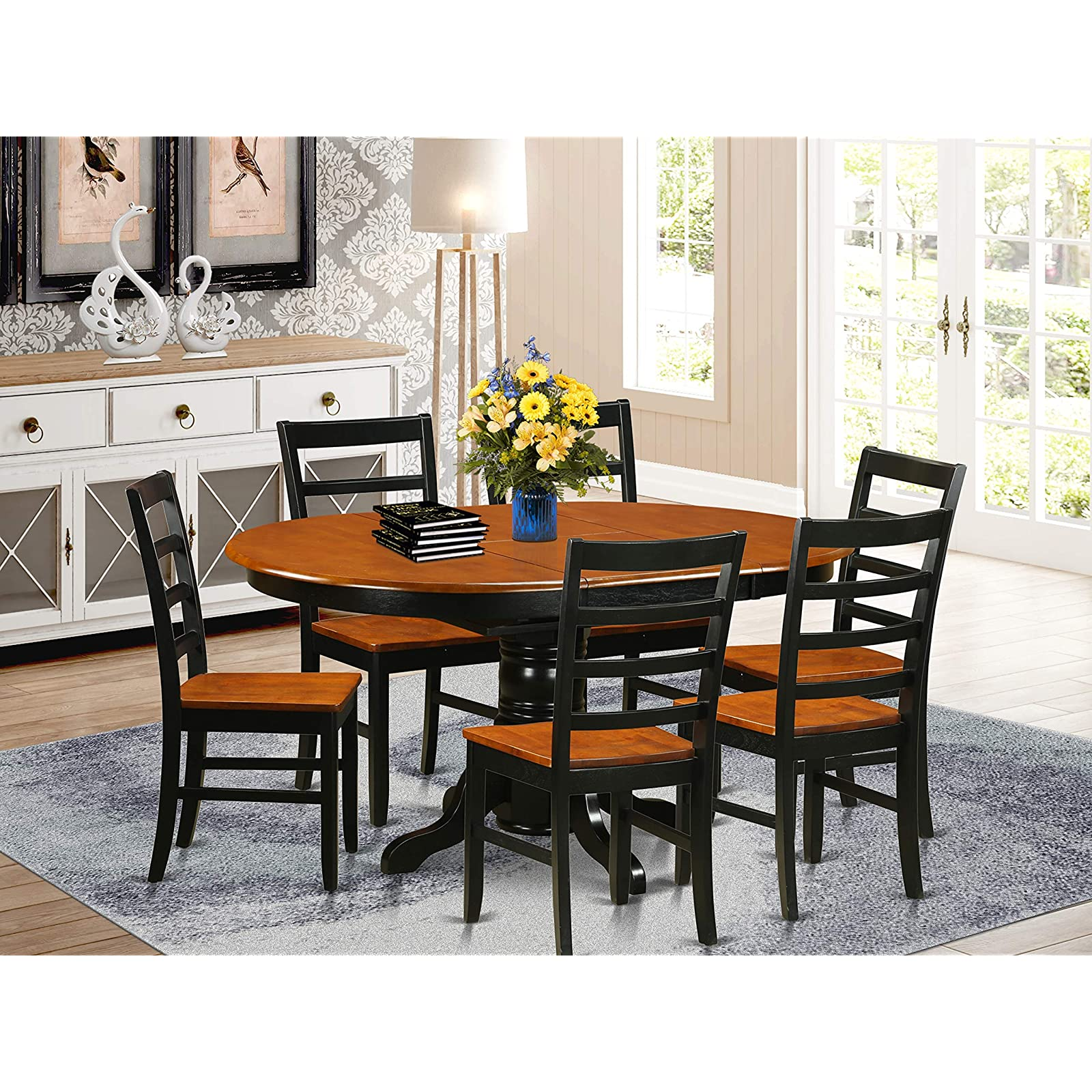 East West Furniture Modern Dining Table Set 6 Great Wood Chairs A Wonderful Wood Dining Table Cherry Color Wooden Seat Cherry And Black Butterfly Leaf Round Dining Table Walmart Com Walmart Com