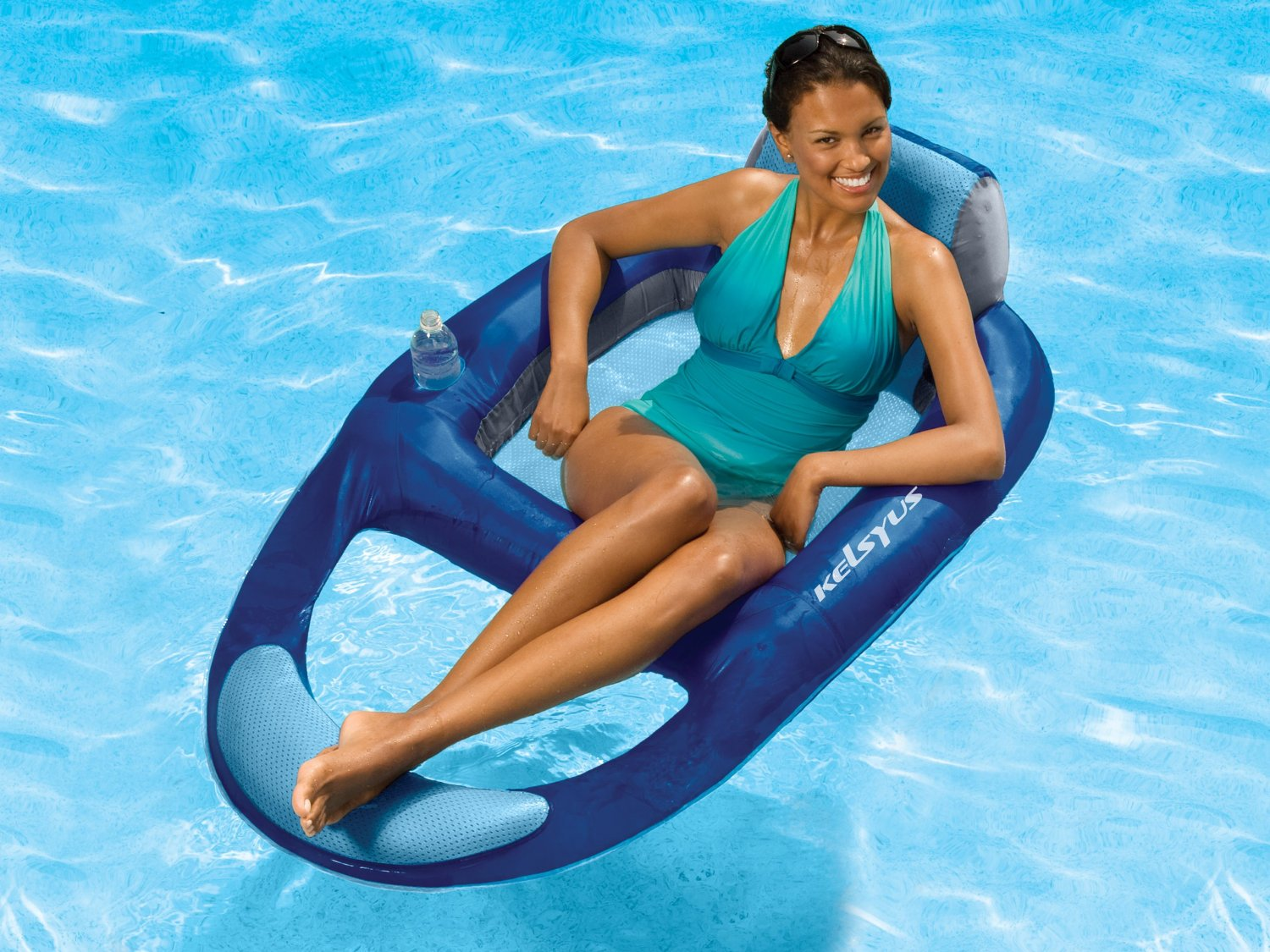 Gentil Kelsyus Floating Pool Lounger Inflatable Chair W/ Cup Holder, Blue | 80014    Walmart.com