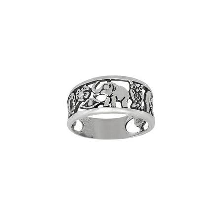 DTLA Sterling Silver Lucky Charm Elephant, Horse Shoe, Owl, Seven 7, Evil Eye, Four Clover Flower Ring (9)