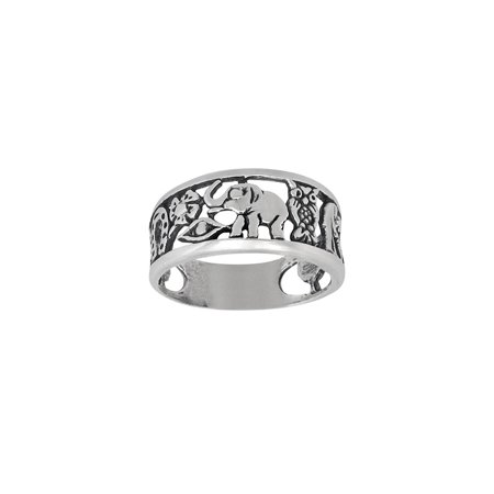 DTLA Sterling Silver Lucky Charm Elephant, Horse Shoe, Owl, Seven 7, Evil Eye, Four Clover Flower Ring - Sterling Silver Antiqued Owl Charm