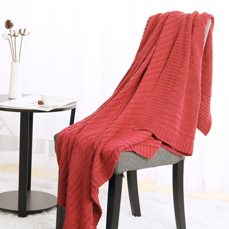 - Soft Cotton Cable Knitted Throw Blanket For Couch Sofa Home Bedding