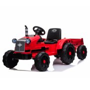 12 Volt Ride On Car with Remote Control, URHOMEPRO Kids Electric Tractor Toy with Trailer, Battery Powered, Led Headlights, Horn, MP3 Player, USB Port, Kids Ride on Toys for Boys Girls, Red, W13509