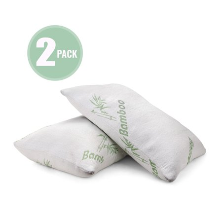 2 Pack Plixio Shredded Memory Foam Pillow with Bamboo Cooling Hypoallergenic Cover- Queen Size Bed Pillows for