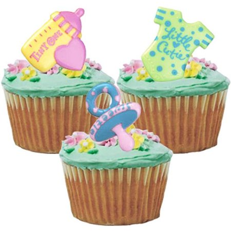 12 Baby Symbol Shower Gender Reveal Cupcake Cake Rings Party Favors