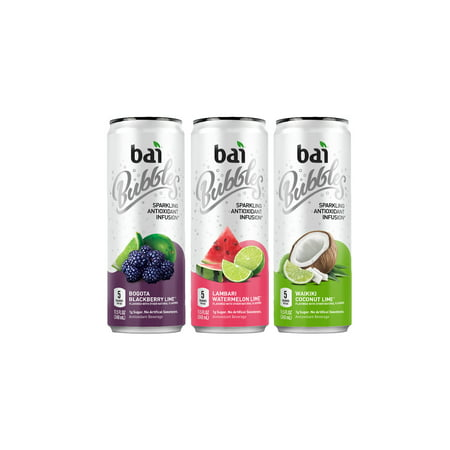 Bai Bubbles, Sparkling Water, Sublime Variety Pack, Antioxidant Infused Drinks, 11.5 Fluid Ounce Cans, 12 count, 4 each of Bogota Blackberry Lime, Lambari Watermelon Lime, Waikiki Coconut Lime ()