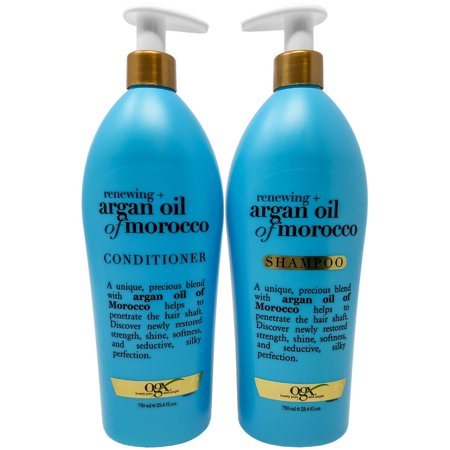 OGX Renewing Moroccan Argan Oil Shampoo and Conditioner Pump Bottle Salon Size Set (2 x 25.4 Oz) ()
