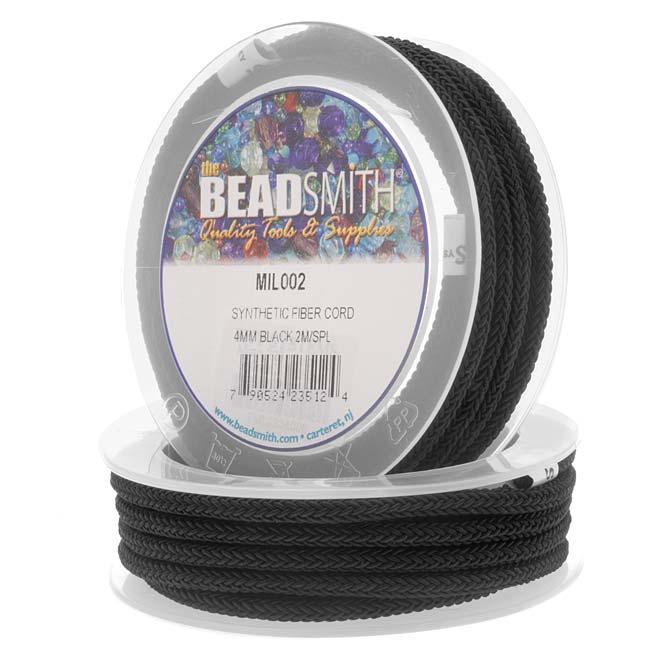 BeadSmith Braided Synthetic Fiber Cord 4mm - Black (2 Meter Spool)