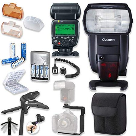 Canon Speedlite 600EX II-RT Flash with Canon Speedlite Case + TTL Cord + Flash L-Bracket Grip + Flexible Steady Pod + 4 High Capacity AA Rechargeable Batteries & Charger + Accessory Bundle