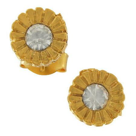 Gold Tone Rhinestone Stud Hypoallergenic Pierced Earrings Surgical Steel Posts Gold Rhinestone Earrings
