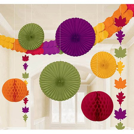 Amscan Colors of Fall Thanksgiving Party Assorted Hanging Decorating Kit Pack of 9, Multicolor, 15.5
