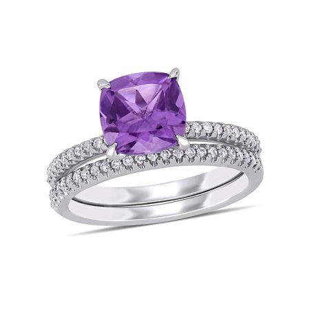 Tangelo 1-3/4 Carat T.G.W. Amethyst and 1/4 Carat T.W. Diamond 14k White Gold Bridal Set