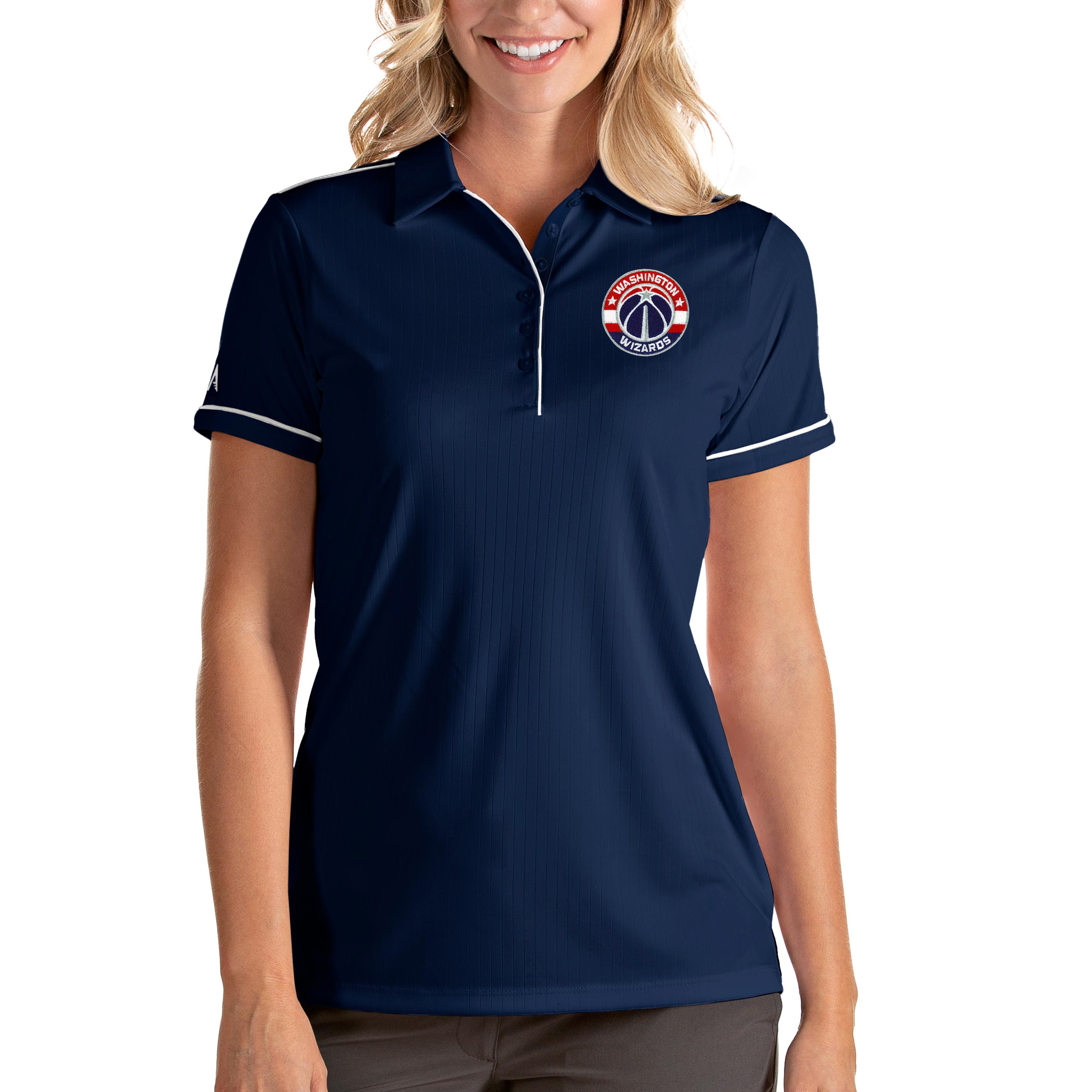 Washington Wizards Antigua Women's Salute Polo - Navy/White