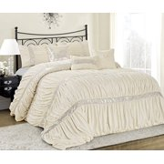 Unique Home 7 Piece CLARAITA Chic Ruched Pleated Bed In A Bag Clearance bedding Comforter Duvet Set Fade Resistant, Super Soft, All Size-Queen King Cal.King Size (Queen, Ivory)