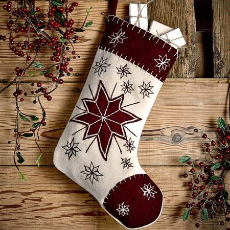 Creme White Farmhouse Christmas Decor North Star Fabric Loop Felt Appliqued Star Stocking (Stocking Stars)