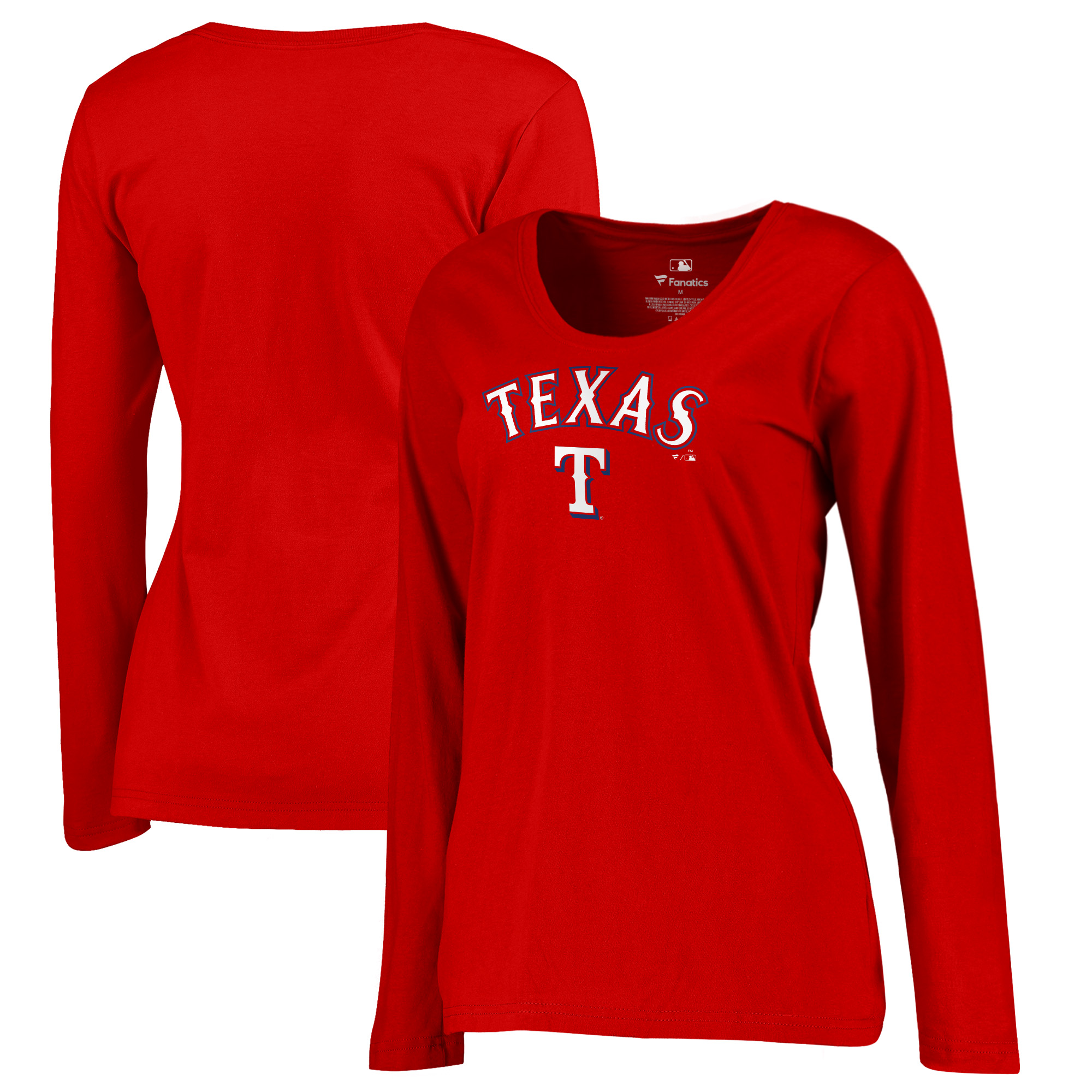 Texas Rangers Fanatics Branded Women's Plus Size Team Lockup T-Shirt - Red