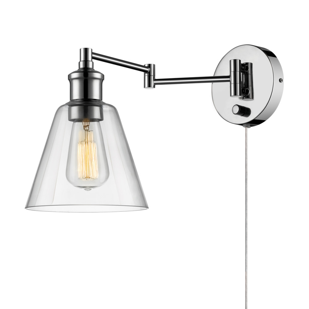 Globe Electric Watt LeClair 1-Light Chrome Plug-In or Hardwire Industrial Wall Sconce by Globe Electric