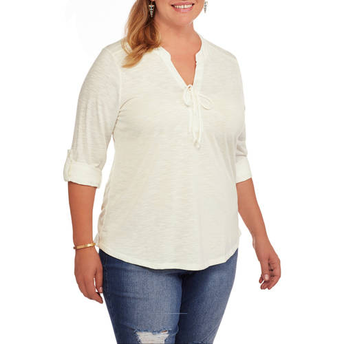 Image of Absolutely Famous Women's Plus Hi Lo Tunic with Lace Up Front and 3/4 Sleeves