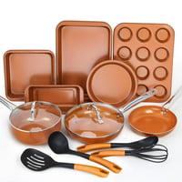 SHINEURI 14 Piece Copper Nonstick Cookware Set - 5 Pieces Kitchen Frying Pan and Saucepan Set, 5 Piece Bakeware Set, 4 Pcs Cooking Utensil - Dishwasher & Oven Safe, PFOA / PTFE Free ( Copper )