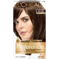 L'Oreal Paris Superior Preference Fade-Defying Shine Permanent Hair Color, 4G Dark Golden Brown, 1 Kit