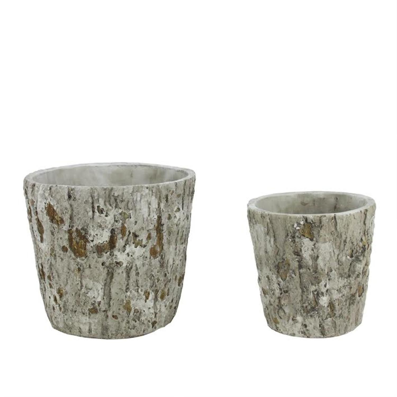 "Set of 2 Brown and Gray Tree Bark Inspired Millcreek Cachepot Flower Planters 7.25"" by Cachepots"