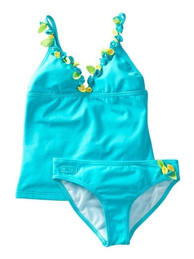 Azul Little Girls Aqua Rosette Bibbidi Bobbidi Boo Pc Tankini Swimsuit