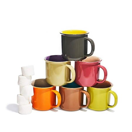 Yedi 20 Oz. Jumbo Ceramic Coffee Tea Beverage Drink Mugs with Handles, Set of 6