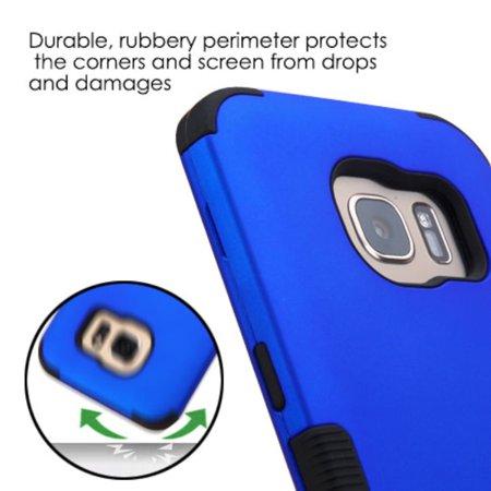 MyBat Tuff Hard Dual Layer Rubberized Silicone Case For Samsung Galaxy S7 Edge - Blue/Black - image 5 of 6