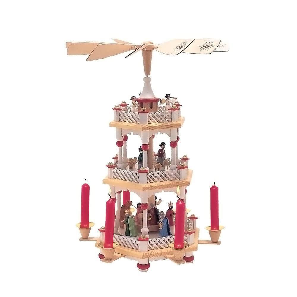 Alexander Taron 16730 Richard Glaesser Pyramid - 3 tiers - Nativity Scene  Wise men  Shepherds and Angels