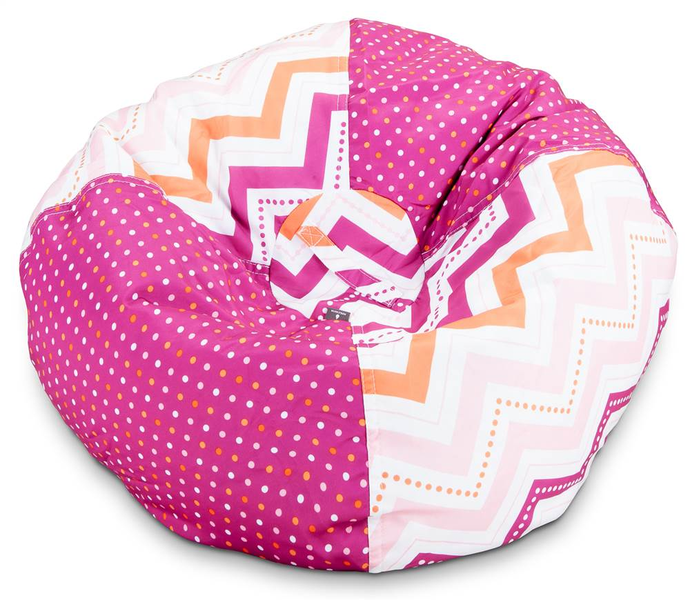 Medium Dotted Chevron Bean Bag in Printed Pink