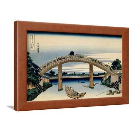 36 Views of Mount Fuji, no. 4: Through the Mannen Bridge at Fukagawa Framed Print Wall Art By Katsushika Hokusai