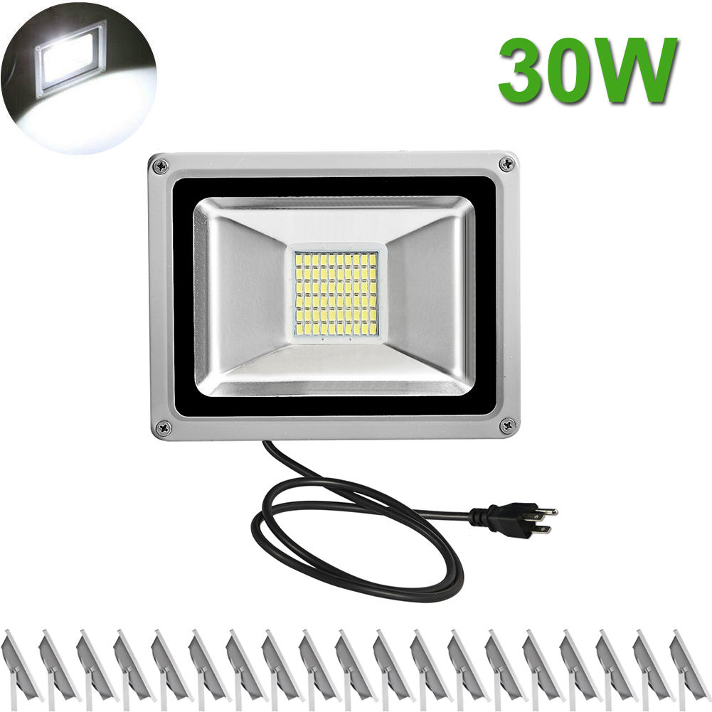 20X 30W LED Flood Light Cool White Outdoor Garden Landscape Spot Lamp US Plug