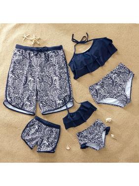 PatPat Mosaic Shark Print Family Matching Swimwear Sets Men Boy Girl Beach Swimwear