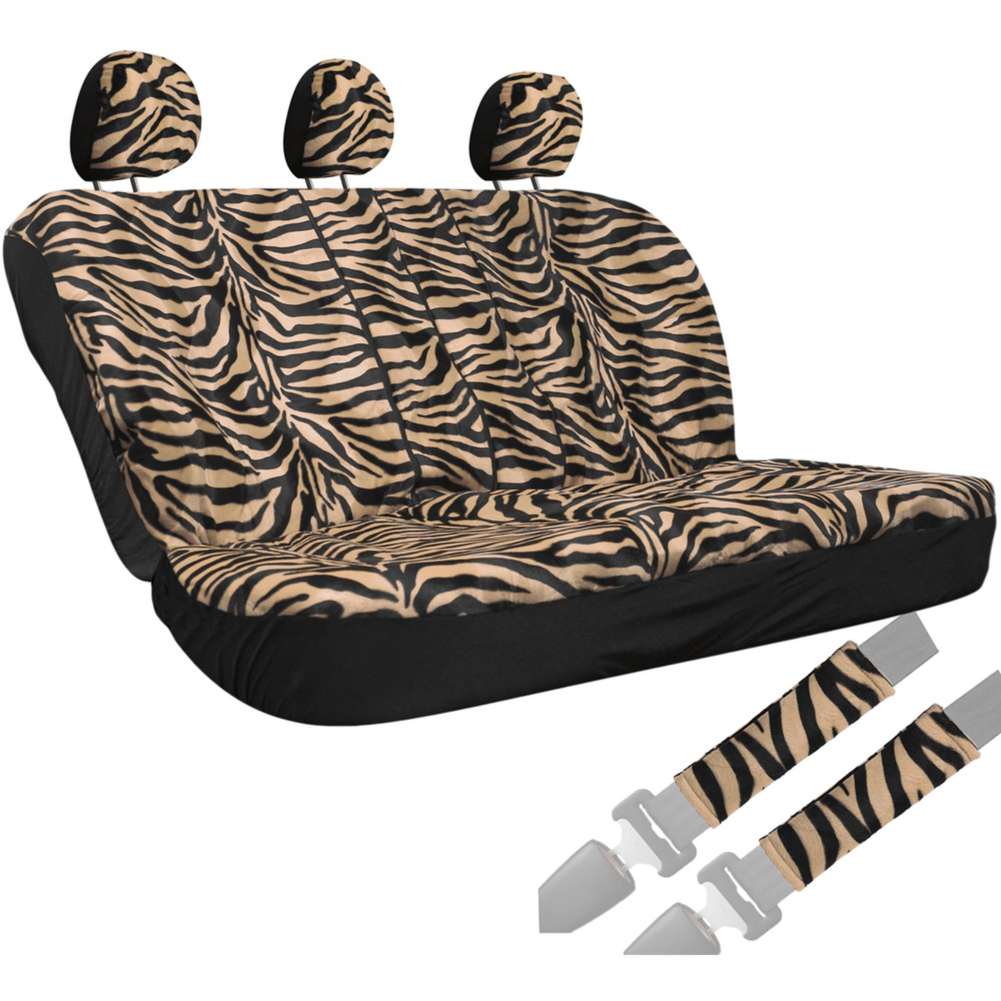 Oxgord 8-Piece Velour Zebra Striped Animal Print Low Back Rear Bench Car Seat Cover