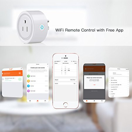 Smart WiFi Plug Mini WiFi Outlet Works with Alexa Remote Voice Control Intelligent Wireless Socket with Timing Function Home Smart Switch Plug from Anywhere Anytime