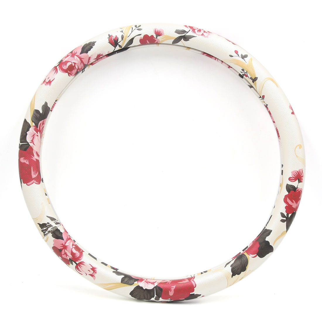 S White Red Faux Leather Flower Pattern Car Steering Wheel Cover Protector