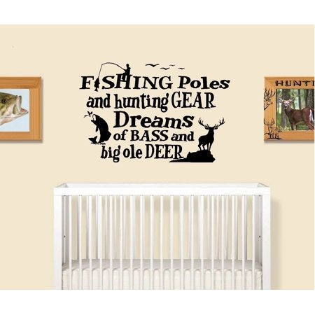 Decal ~ Fishing Poles and Hunting Gear #1 (Little Boys Room) Wall Decal 20