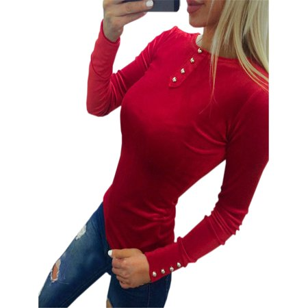 Fashion Women Buttons Sleeve T Shirt Long Sleeve Bodycon Basic Tops Casual Blouse Daily Party Tee Top 70 Fashion Women