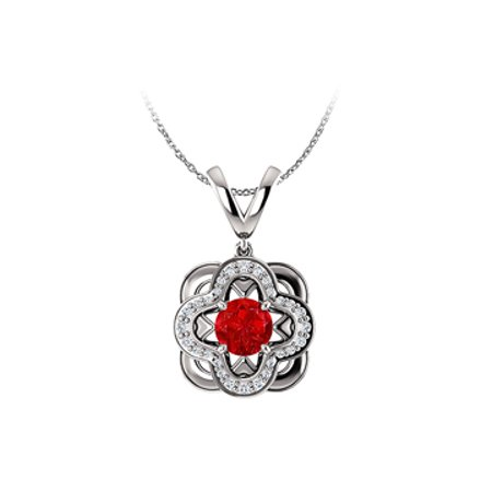 Round Ruby and CZ Accented Designer Pendant in Silver - image 1 de 2