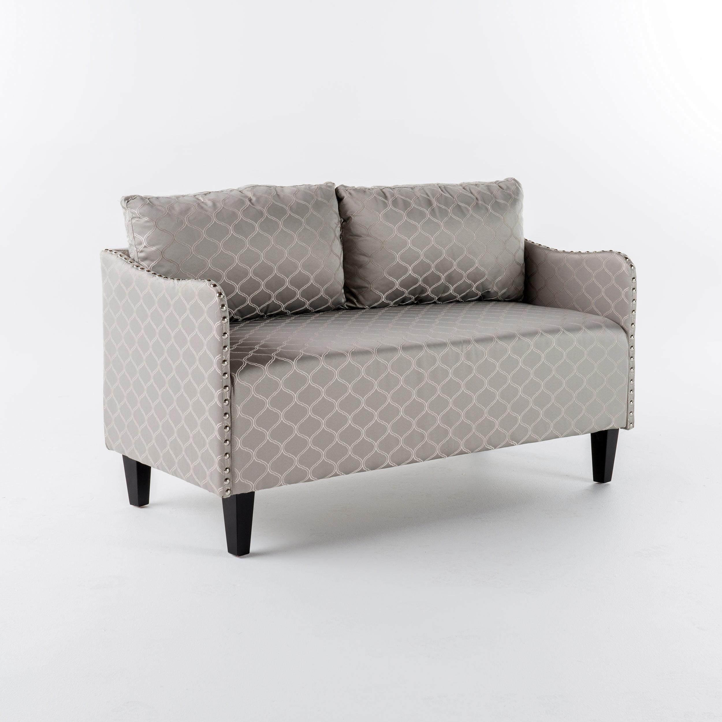Aurelia Pattern Fabric Loveseat, Grey by GDF Studio