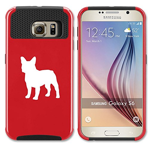 Samsung Galaxy S6 Shockproof Impact Hard Case Cover French Bulldog (Red),MIP
