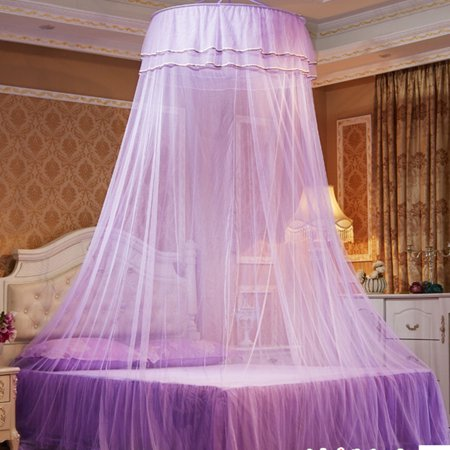 Round Double Lace Curtain Dome Bed Canopy Princess Mosquito Net with Luminous