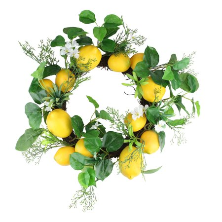 Lemon and Flower Foliage Wreath Yellow and White 20-inch ()