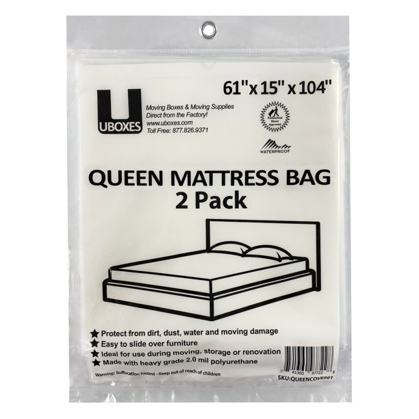 """uBoxes Queen Mattress Bag 61x15x104"""", 2 Mil, 2 Pack, Protector Box Spring bed"""