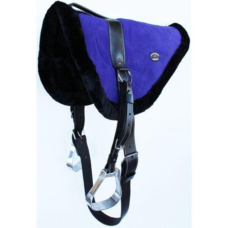 Horse Western SADDLE Purple Suede Leather Bareback Pad Girth Stirrups 39158